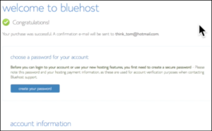 success page bluehost