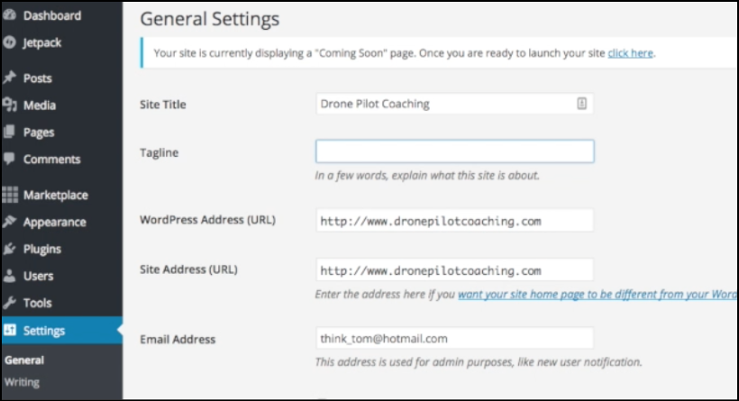 wordpress blog settings tagline