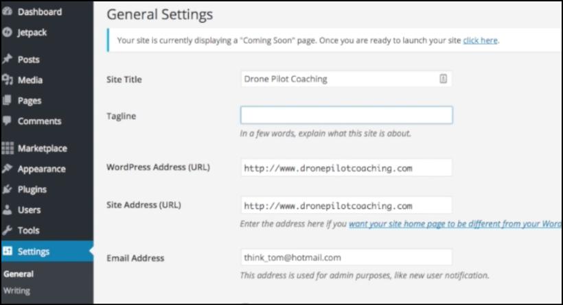 wordpress blog settings tagline
