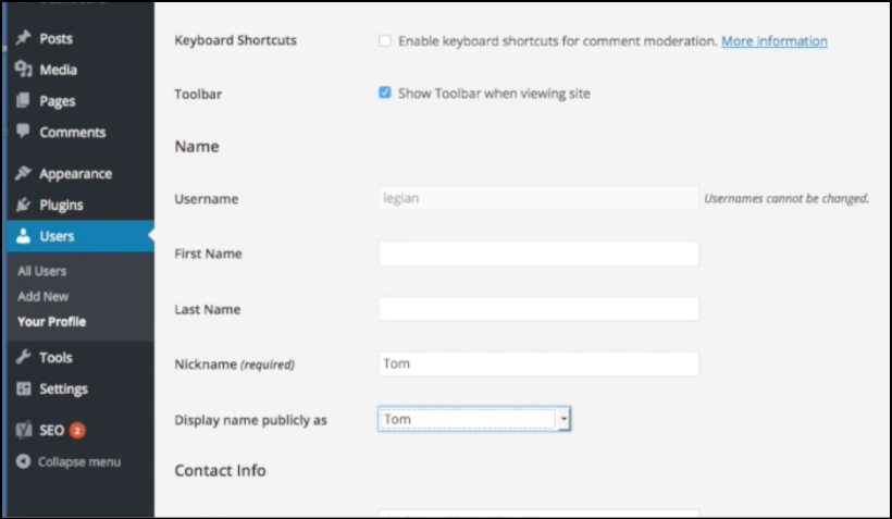 bluehost wordpress blog user settings