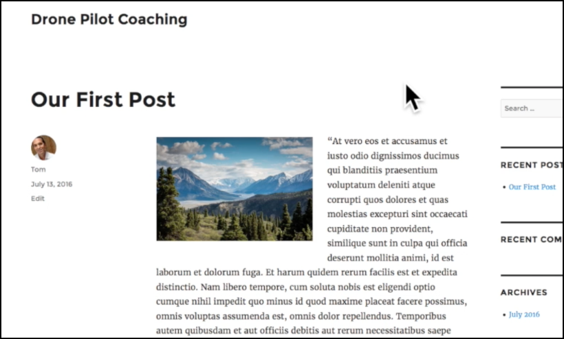 first post wordpress screenshot
