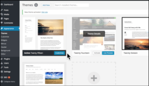 wordpress appearance themes area