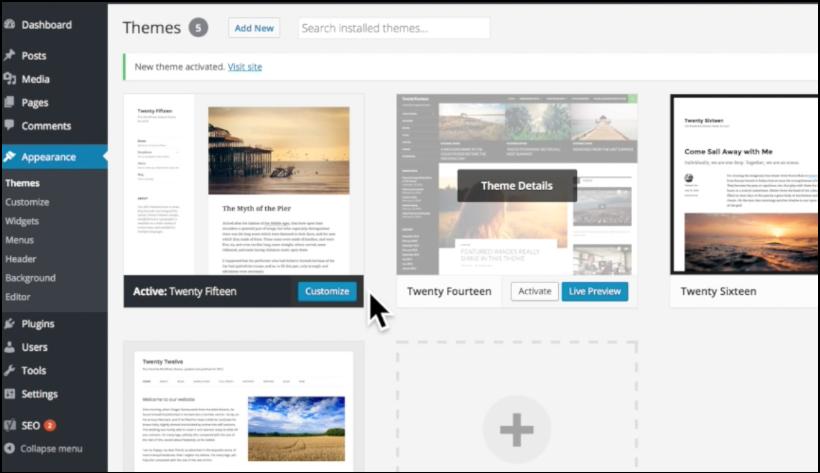 wordpress appearance themes area