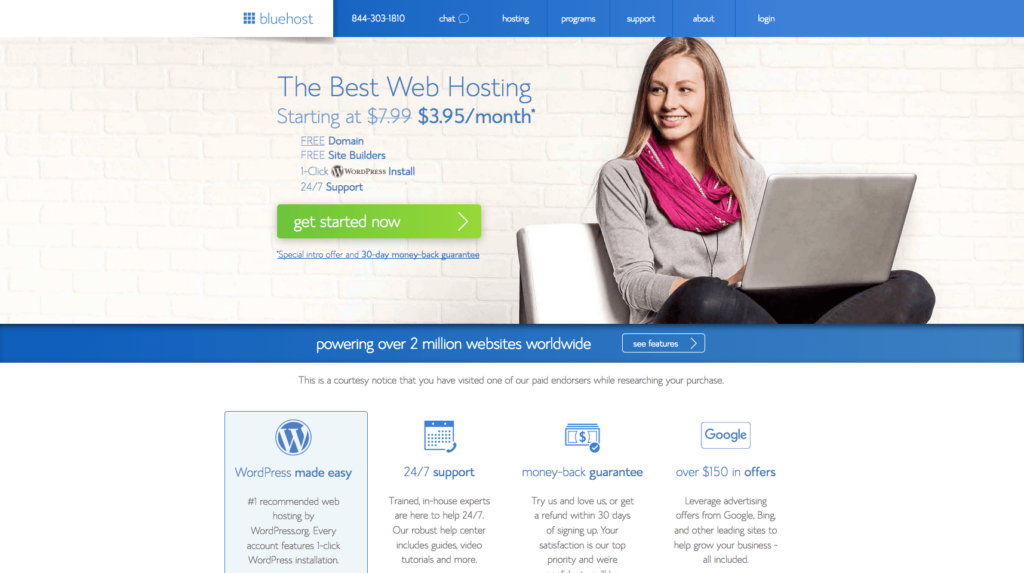 Start a blog Bluehost Home