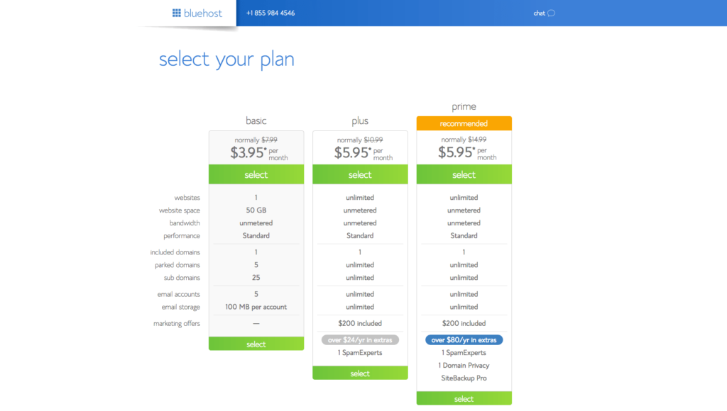 Start a blog Bluehost Select Plan