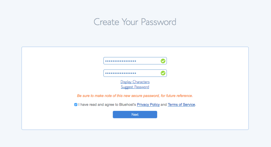 Start a blog Bluehost Password Step 2