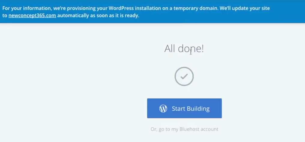 Start a blog Bluehost all done