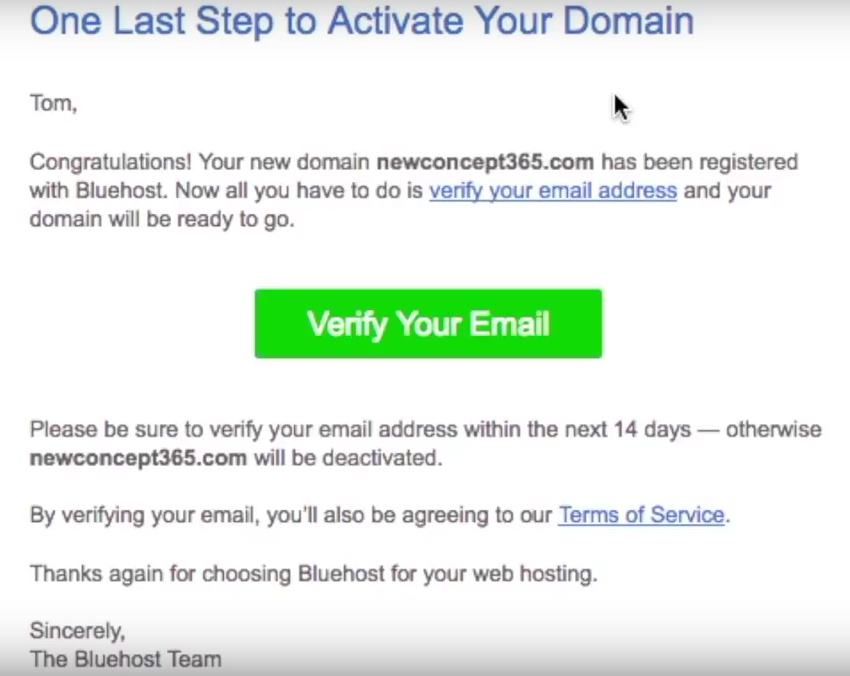 Start a blog Bluehost verify email