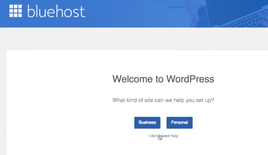 Start a blog Bluehost welcome to wordpress