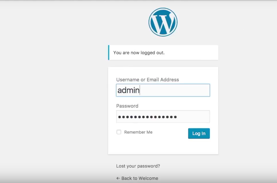 Start a blog Bluehost wordpress login screen