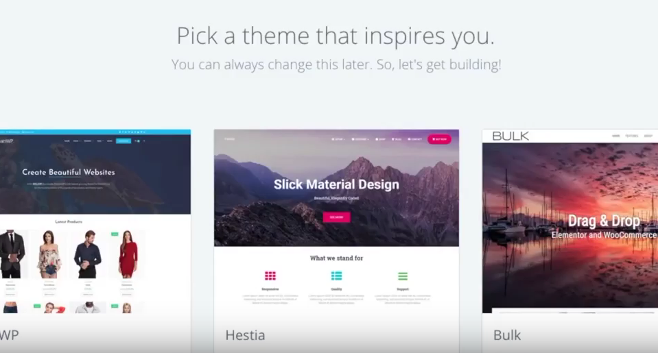 Start a blog Bluehost pick theme
